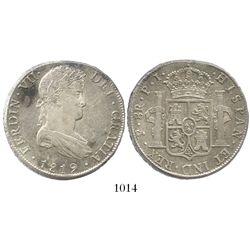 Potosi, Bolivia, bust 8 reales, Ferdinand VII, 1819PJ.