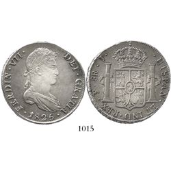 Potosi, Bolivia, bust 8 reales, Ferdinand VII, 1825J, rare single-letter assayer and final date of c