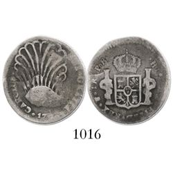 Potosi, Bolivia, bust 2 reales, Charles IV, 17??PR, bust engraved into the shape of a plume.