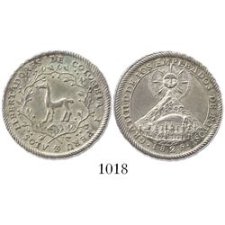 Potosi, Bolivia, 2 reales proclamation medal, 1825, commemorating the liberation of Colombia and Per