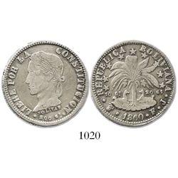 Potosi, Bolivia, (4 soles), 1860FJ, rare.