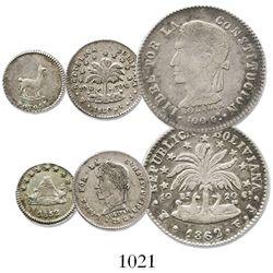 Lot of 3 Potosi, Bolivia, silver minors: (2 soles), 1862FJ; (1/2 sol), 1860FJ; 1/4 sol, 1852.