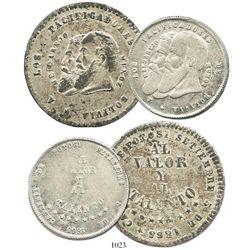 Lot of 2 Bolivia (Potosi), silver medallic coins of 1865 (1/2 melgarejo and 1/4 melgarejo).