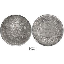 Potosi, Bolivia, 1 boliviano, 1871ER.
