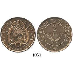 Potosi, Bolivia (struck in Paris), copper 2 centavos, 1883-A.
