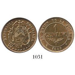 Potosi, Bolivia (struck in Paris), copper 1 centavo, 1883-A.