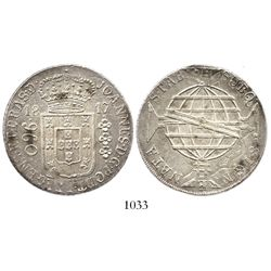 Brazil (Rio mint), 960 reis, 1817-R, struck over a Spanish colonial bust 8R.