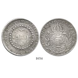 Brazil (Rio mint), 960 reis, 1824-R, struck over a Spanish colonial bust 8R of Charles IV.