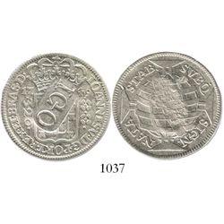 """Brazil (Rio mint), 320 reis, 1749-R, with """"ICO"""" countermark on obverse (1829-32), rare."""