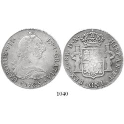 Santiago, Chile, bust 8 reales, Charles III, 1785DA,  withdrawn
