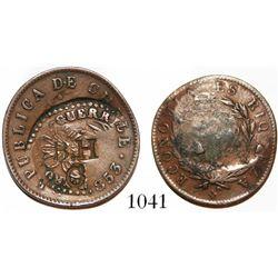 Chile, copper 1/2 centavo, 1853, with GUERRA [del Pacifico] and B H / C (incuse) countermarks pertai