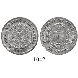 Santiago, Chile, 20 centavos, 1891, 0.2 fine (debased).