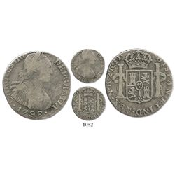 Bogota, Colombia, bust 2 reales, Charles IV, 1798/7JJ, plain edge, rare.