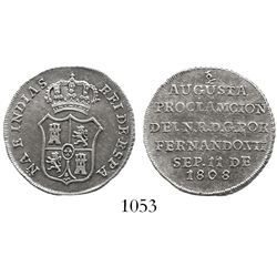 """Bogota, Colombia, silver """"2 reales"""" proclamation medal, Ferdinand VII, 1808."""