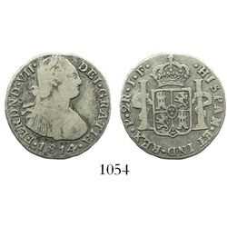 Popayan, Colombia, bust 2 reales, Ferdinand VII (bust of Charles IV), 1814JF, rare.