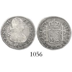 Bogota, Colombia, bust 1 real, Ferdinand VII (bust of Charles IV), 1819FJ, assayer NOT inverted.