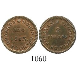 Popayan (Royalist), Colombia, copper 2 reales, 1813.