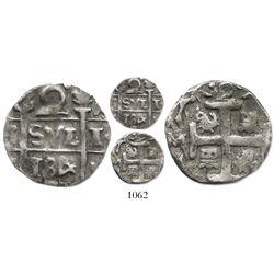 "Santa Marta (Royalist), Colombia, 2 reales, fantasy date ""184"" (ca. 1815), upside-down castles, rare"