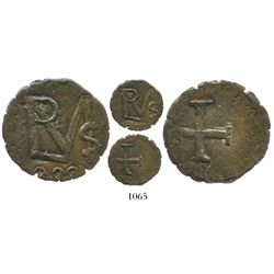"Cartagena (Royalist), Colombia, copper 1/2 real, fantasy date ""008"" (1815), struck over Cartagena (R"