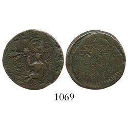 "Cartagena (Republican), Colombia, copper 1/2 real ""piedfort"" (double thickness), 1812."