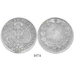 Bogota, Colombia, 10 reales, 1849/8, rare.