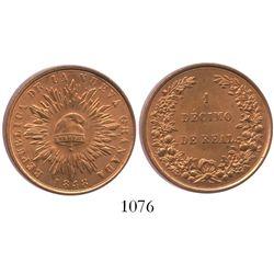 Bogota, Colombia, copper 1 decimo de real, 1848.