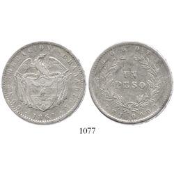 Bogota, Colombia, 1 peso, 1861, rare.