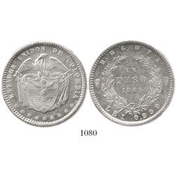 Bogota, Colombia, 1 peso, 1865.