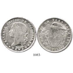 Medellin, Colombia, 1 peso, 1869.