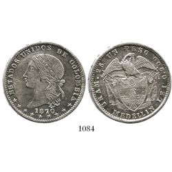 Medellin, Colombia, 1 peso, 1870.