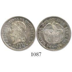 Bogota, Colombia, 2 decimos, 1872.