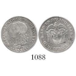 Medellin, Colombia, 1 decimo, 1874/3-AB (Barre).