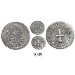 Bogota, Colombia, 1/4 decimo, 1865.