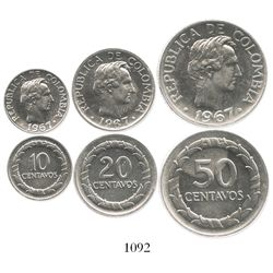 Lot of 3 nickel-plated steel Proofs of 1967: 50c, 20c and 10c.