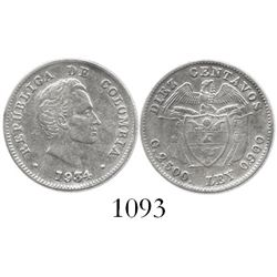 Bogota, Colombia, 10 centavos, 1934, without B, rare.