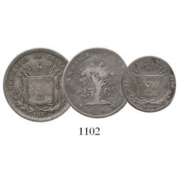 Lot of 3 Costa Rica silver minors: 25c 1875; 25c 1887 (9 Ds-GW); and 10c 1865.