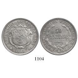Costa Rica, 50 centavos, 1903JCV, no counterstamp.