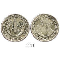 Quito, Ecuador, 2 reales, 1836-FP.