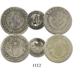 Lot of 3 Quito, Ecuador, minors: 2R 1837FP (2) and 1/2R 1840MV (holed).