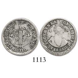 Quito, Ecuador, 1 real, 1833GJ.