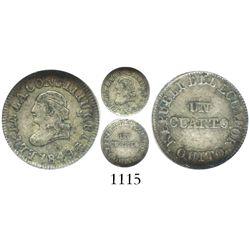 Quito, Ecuador, 1/4 real, 1849GJ, encapsulated NGC VF 35.