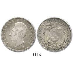 Ecuador, 1/2 sucre, 1884-HEATON BIRMINGHAM.
