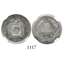 Ecuador, copper-nickel 10 centavos, 1919, encapsulated NGC MS 63.