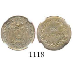 Ecuador, copper-nickel 1 centavo, 1909-H (Heaton), encapsulated NGC AU details / surface hairlines.