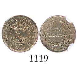 Ecuador, copper-nickel 1/2 centavo, 1884 HEATON BIRMINGHAM, encapsulated NGC AU details / surface ha