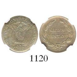 Ecuador, copper-nickel 1/2 centavo, 1909-H (Heaton), encapsulated NGC AU details / surface hairlines
