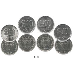 """Lot of 4 Ecuador 10 sucres, 1991, """"coins for the blind,"""" two with die errors."""