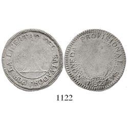 El Salvador, 2 reales, 1832-SS, provisional type.