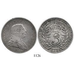 Essequibo & Demerary, 3 guilder, George III, 1809.