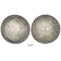 France (mint uncertain), ecu, Louis XIV, 1701, struck over an earlier ecu.